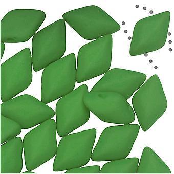 Czech Glass GemDuo, 2-Hole Diamond Shaped Beads 8x5mm, 8 Grams, Matte Velvet Lizard Green