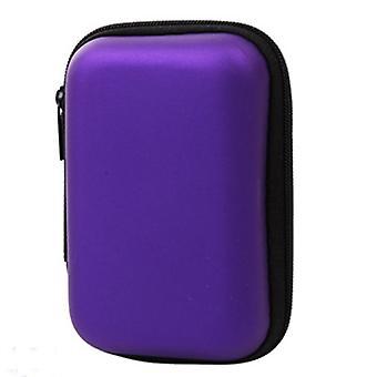 Caja de auriculares de forma redonda, bolsa organizadora de cable USB