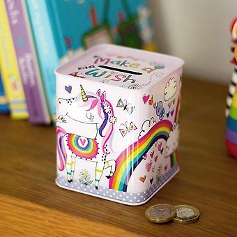 Money Box Tin-lag en Wish Unicorn og Rainbow Childrens gift