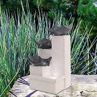 Outdoor Grauer Schutt Kaskadierende Statuen Wasserfall LED Wasserspiel Brunnen Dekor