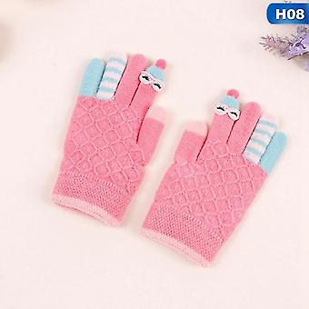 Winter Warm Knitted Full Finger Thick Mittens With Bear Bow Cartoon Gloves