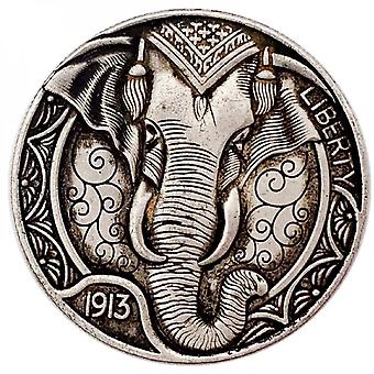 1913 American Animal Coin Elephant Commemorative Coin Collection Embossed Three-dimensional Coin Copper And Silver Coin