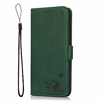 Case For Samsung Galaxy S21 Ultra Wallet Flip Pu Leather Cover Card Holder Coque Etui - Green Cat