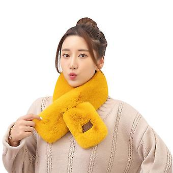 Foulards d'hiver Femmes Faux Fur Collar En peluche Châle Couleur Unie Épais