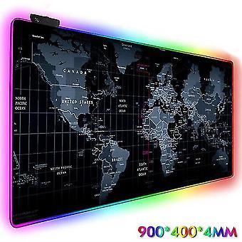 Mapa do mundo da luz iluminada mapa do mouse pad mapa de jogo led rgb luz de fundo com cabo USB controle estendido