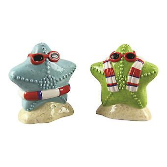 Starfish in Sunglasses at the Beach Salt and Pepper Shaker Set