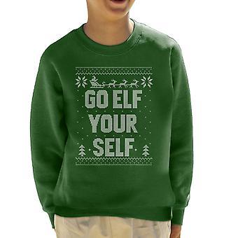 Go Elf Yourself Christmas Knit Pattern Kid's Sweatshirt