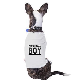 عيد ميلاد الصبي قميص أبيض ملابس الحيوانات الأليفة مضحك القطن لطيف الكلب Onwer