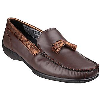 Cotswold Womens Biddlestone Slip On Loafer Shoe Brown/Gold