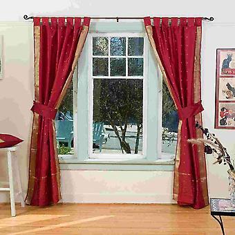 Indo Maroon Tab Top Sari schiere Vorhang (43 Zoll x 84 Zoll) mit passenden Zugband