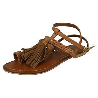 Dam Läder samling platta tofs sandaler F0950