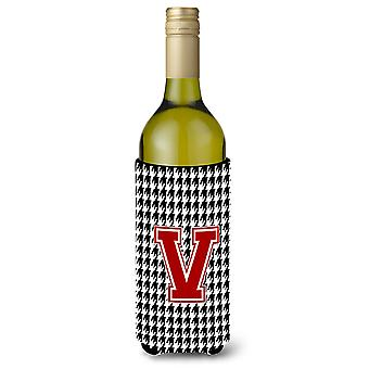 Monogram - Houndstooth  Initial  V Wine Bottle Beverage Insulator Beverage Insul