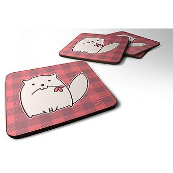 Carolines Treasures  BB6854FC Set of 4 Cat Pink Plad Foam Coasters Set of 4