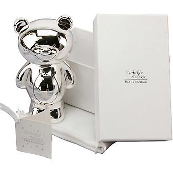 Twinkle Twinkle Silver Plated Teddy Bear Money Box