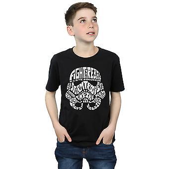 Star Wars Boys Stormtrooper Text Head T-Shirt