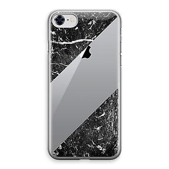 iPhone 8 Transparant Case (Soft) - zwart marmer