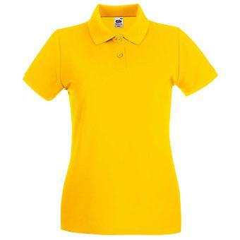 Fruta da manga curta de tear Lady Fit Premium cores camisa polo de algodão