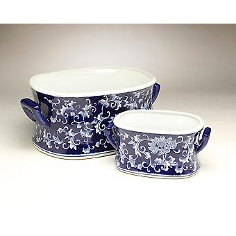 AA Importing 59941 Set Of 2 Blue & White Foot Baths