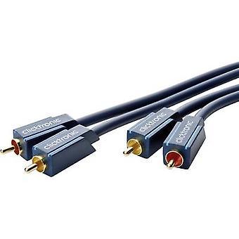 clicktronic RCA Audio/Phono Kabel [2x Cinch-Stecker (Phono) - 2x Cinch-Stecker (Phono)] 10,00 m Blau vergoldete Anschlüsse
