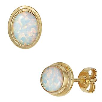Earrings opal earrings 333 Gold Yellow Gold 2 Opal earring gold Bouton