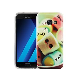 Mobile tilfældet for Samsung Galaxy A3 2017 dækning case beskyttende taske motiv slim TPU + panser beskyttelse glas 9 H Bogstavernes skumfiduser