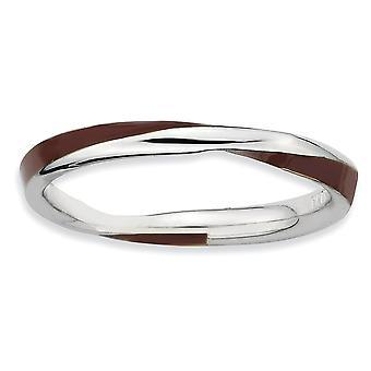 925 Sterling hopea kiillotettu rhodium kullattu kierretty ruskea emaloitu 2,5 x 2,25 mm pinottava rengas korut lahjat naisille -