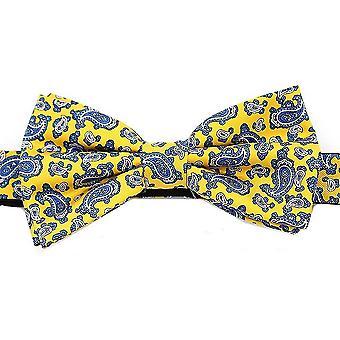 David Van Hagen Edwardian små Paisley Silk Bow Tie - gul