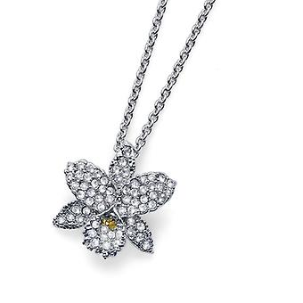 Oliver Weber Pendant Orchid Rhodium Crystal