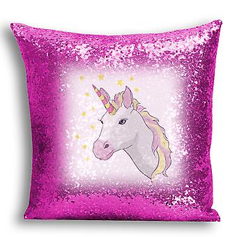 i-Tronixs - Unicorn Printed Design Pink Sequin Cushion / Pillow Cover with Inserted Pillow for Home Decor - 6
