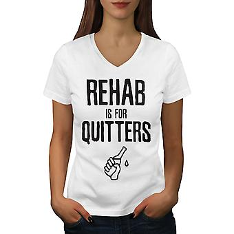 Rehab Quitters Women WhiteV-Neck T-shirt | Wellcoda