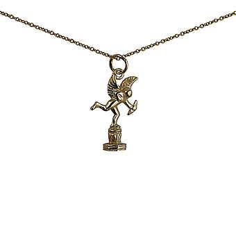 9ct Gold 22x14mm solid Piccadilly Eros Pendant with a 1.1mm wide cable Chain 20 inches
