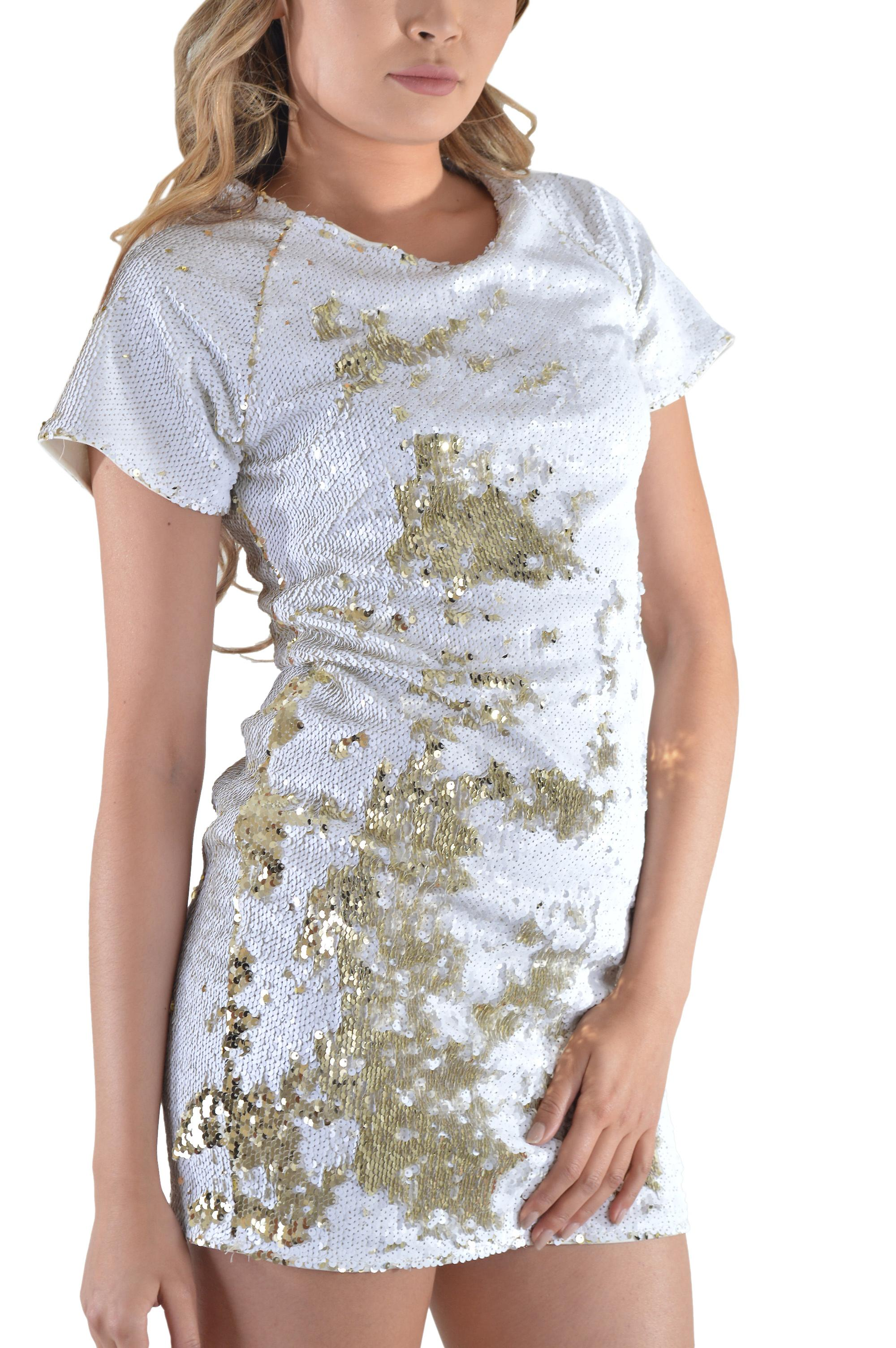 Lovemystyle White And Gold Sequin T-shirt Shift Dress