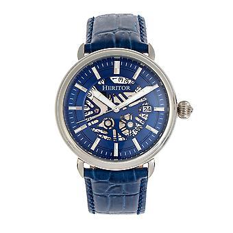 Heritor automático Mattias cuero-reloj de banda w/Date-Silver/Blue