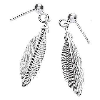 Bella enkelt fjer øreringe - sølv