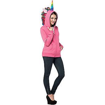 Hættetrøje enhjørning Pink voksen