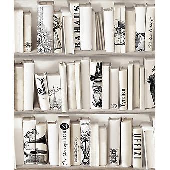 Crème beige boekenkast behang bibliotheek Franse vintage encyclopedie retro Muriva