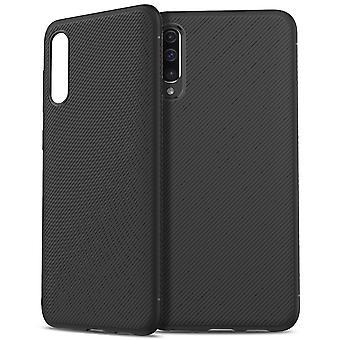 Samsung Galaxy A50 twill textuur TPU-shell-zwart