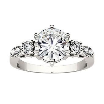 14K White Gold Moissanite by Charles & Colvard 8mm Round Engagement Ring, 2.22cttw DEW
