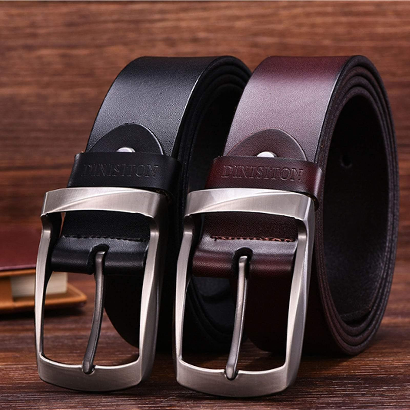 Brown twisted buckle premium leather men's belt 33-36