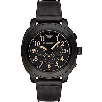 Emporio Armani Ar6061 Black Leather Quartz Men ' s Delta Watch