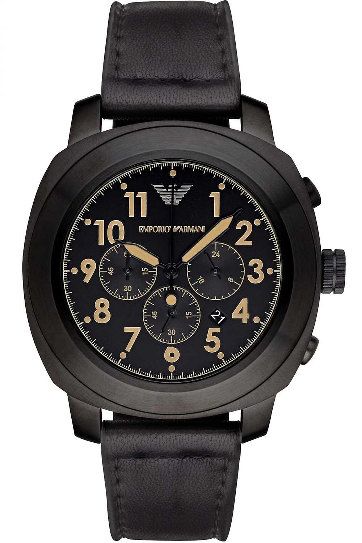 Emporio Armani Ar6061 Black Leather Quartz Men's Delta Watch