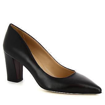 Leonardo Shoes Women's handmade mid heels pumps shoes in black napa leather