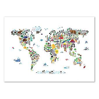 Kunst-poster-dierenwereld kaart-Michael Tompsett 50 x 70 cm