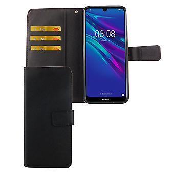 Huawei Y6 2019 Bolsillo Teléfono Funda Deprotección Funda Flip Caja con Bandeja de Tarjeta Negro