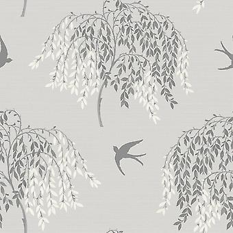 Arthouse Willow Song Tree Leaf Pattern Bird Motif Glitter Wallpaper 664700