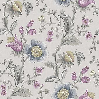 Creme Blau grau Heather Floral Wallpaper lila Leinen Effekt Paste Wand Holden