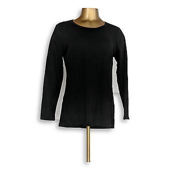 Isaac Mizrahi Live! Vrouwen ' s top kleine Essentials katoen lange zwarte A344589