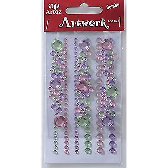 Lime And Pink Round Jewels Craft Embellishment By Artoz