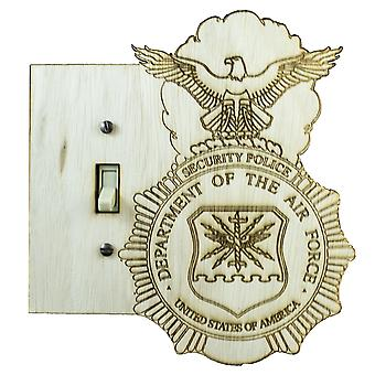 Security police shield switch plate - raw wood - 6.5