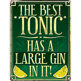Grindstore The Best Tonic Has A Large Gin In It! Mini Tin Sign